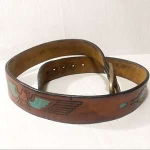 Amazing Vintage Brown Leather Eagle Belt Sz 32